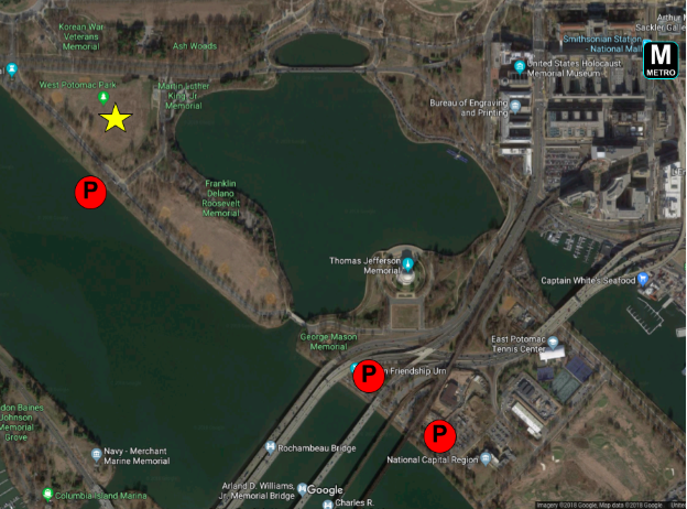 Skyview map of the Tidal Basin showing the location for the tournament and available parking