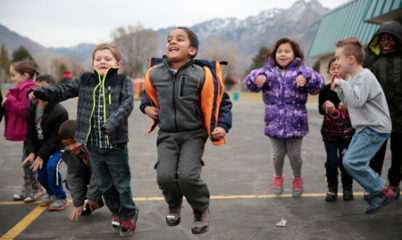 Children actively playing during recess