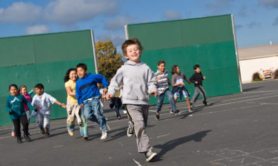 kids racing to recess