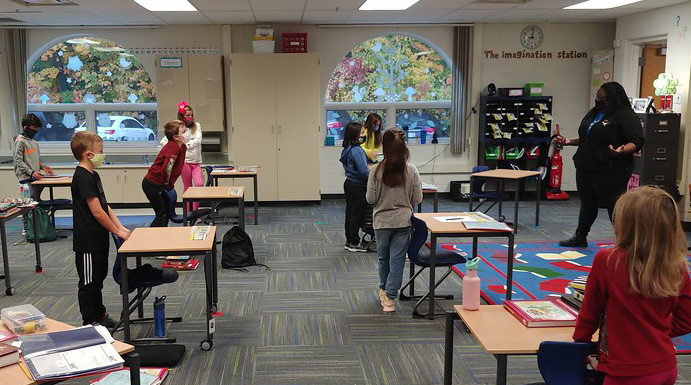 Students playing in classroom