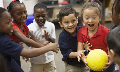 Playworks children playing indoor recess games
