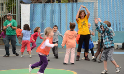 Playworks school children safely playing Evolution recess games