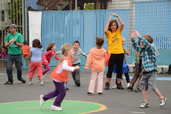 Playworks school children safely playing Evolution recess games