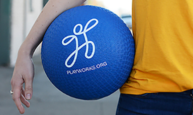 Blue Playworks ball used in Silent Ball game