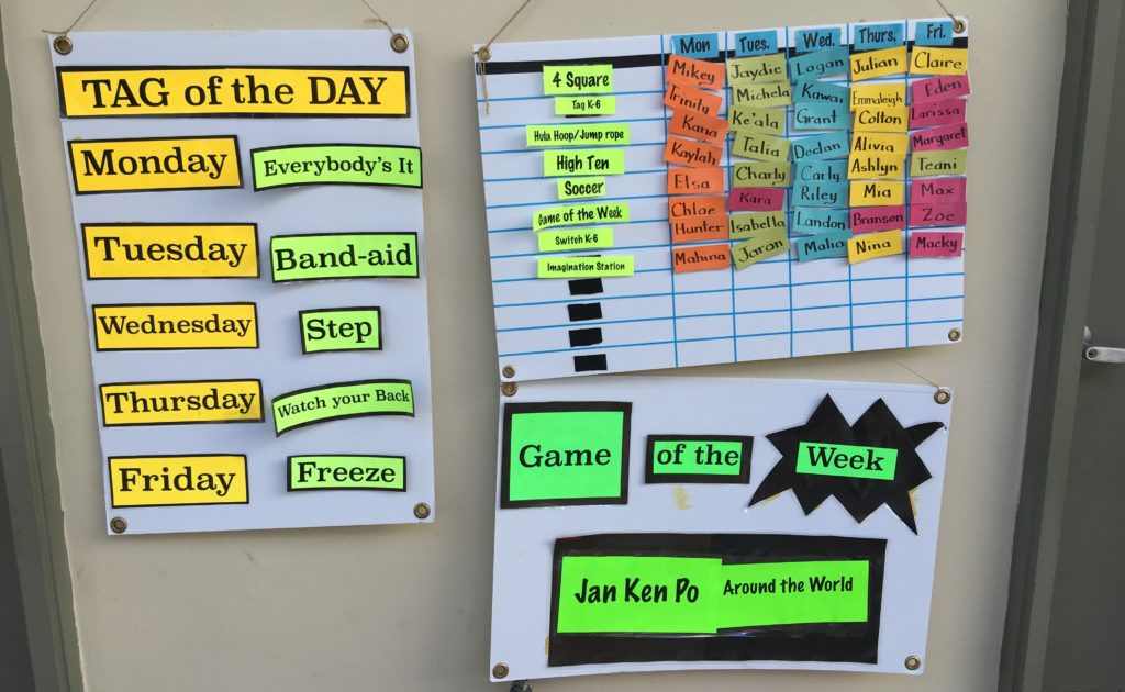 "A recess schedule lets students and recess staff know which games will be available, which new ""game of the week"" will be introduced, and which student leaders will set up each core game."