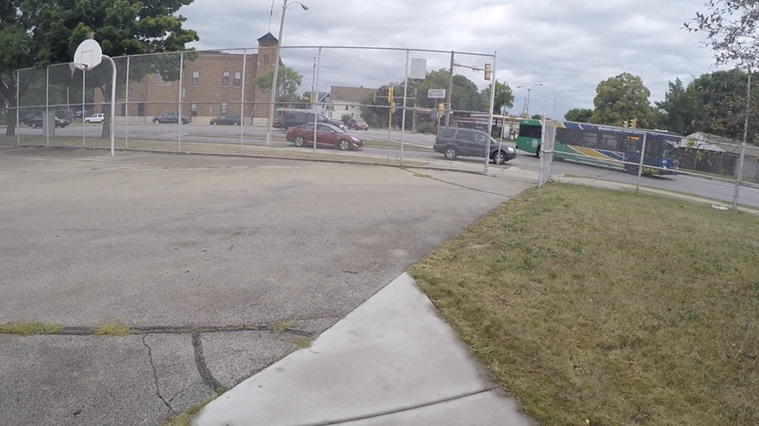 playground near busy intersection