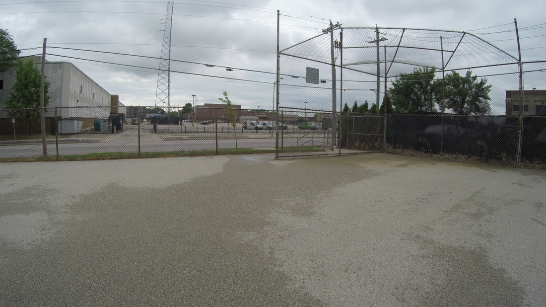 Large blacktop far from school