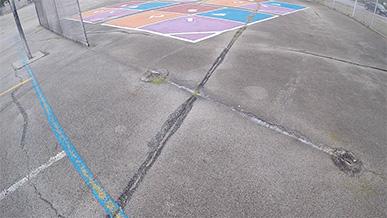 cut out poles on blacktop
