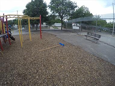 brooms on playground